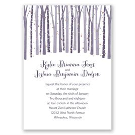 Woodland Snowfall - Rose Gold - Foil Invitation