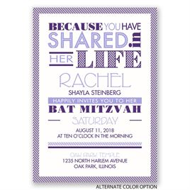 Modern Typography - Bat Mitzvah Invitation