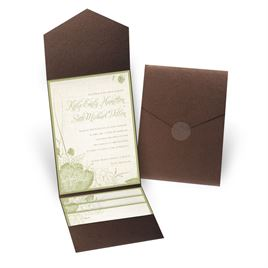 Floral Linen - Brown Shimmer - Pocket Invitation