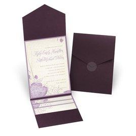 Floral Linen - Eggplant - Pocket Invitation