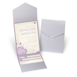 Floral Linen - Silver Shimmer - Pocket Invitation