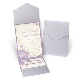 Floral Linen - Silver Shimmer - Pocket Invitation