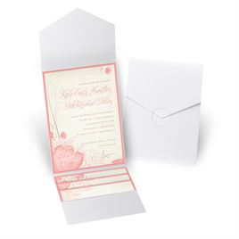 Floral Linen - White Shimmer - Pocket Invitation