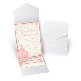 Floral Linen - White Shimmer - Pocket Invitation