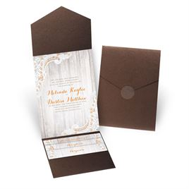 Country Affair - Brown Shimmer - Pocket Invitation