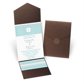 Geo Chic - Brown Shimmer - Pocket Invitation