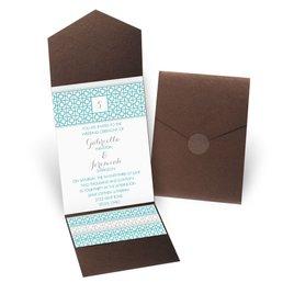 Geo Chic - Brown Shimmer - Pocket Invitation