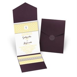 Geo Chic - Eggplant - Pocket Invitation