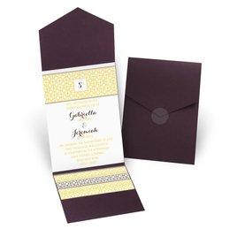 Geo Chic - Eggplant - Pocket Invitation