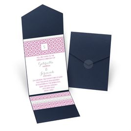 Geo Chic - Navy - Pocket Invitation