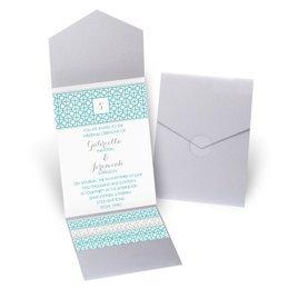 Geo Chic - Silver Shimmer - Pocket Invitation
