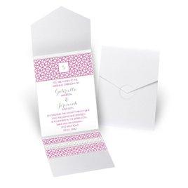 Geo Chic - White Shimmer - Pocket Invitation