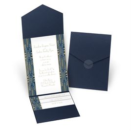 Grand Presentation - Navy - Pocket Invitation
