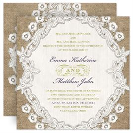 Shop All Burlap Invitations by Dawn