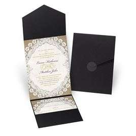 Embroidered Embrace - Black - Pocket Invitation