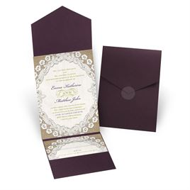 Embroidered Embrace - Eggplant - Pocket Invitation