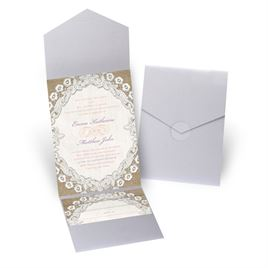 Embroidered Embrace - Silver Shimmer - Pocket Invitation