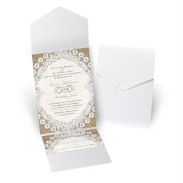 Embroidered Embrace - White Shimmer - Pocket Invitation