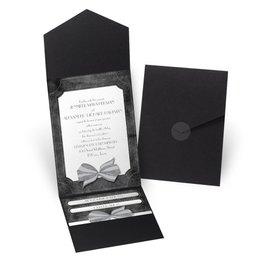 Simply Dashing - Black - Pocket Invitation