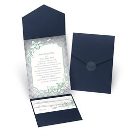 Exotic Orchid - Navy - Pocket Invitation