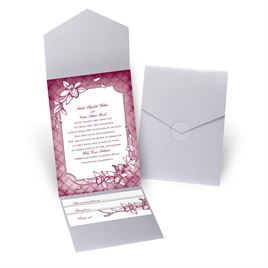 Exotic Orchid - Silver Shimmer - Pocket Invitation
