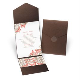 Love Takes Flight - Brown Shimmer - Pocket Invitation