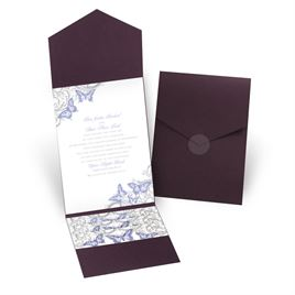 Love Takes Flight - Eggplant - Pocket Invitation