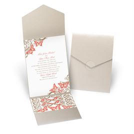 Love Takes Flight - Gold Shimmer - Pocket Invitation