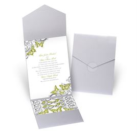 Love Takes Flight - Silver Shimmer - Pocket Invitation