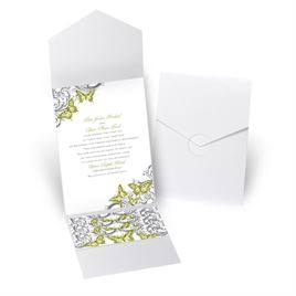 Love Takes Flight - White Shimmer - Pocket Invitation