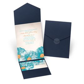 Spanish Poppy - Navy - Pocket Invitation