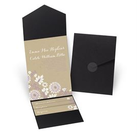 Prairie Floral - Black - Pocket Invitation