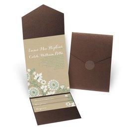 Prairie Floral - Brown Shimmer - Pocket Invitation