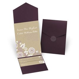 Prairie Floral - Eggplant - Pocket Invitation