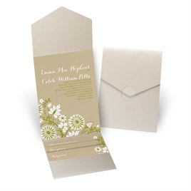 Prairie Floral - Gold Shimmer - Pocket Invitation