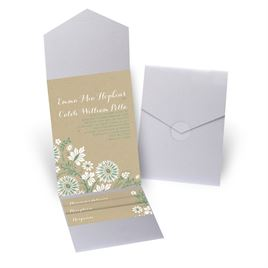 Prairie Floral - Silver Shimmer - Pocket Invitation