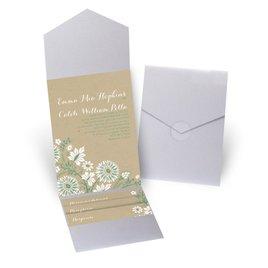 Prairie Floral - Silver Shimmer - Pocket Invitation
