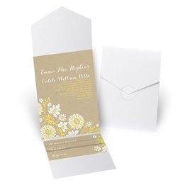 Prairie Floral - White Shimmer - Pocket Invitation