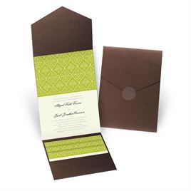 Classic Romance - Brown Shimmer - Pocket Invitation