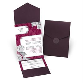 Forever Vintage - Eggplant - Pocket Invitation