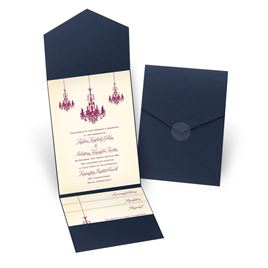 Ballroom Beauty - Navy - Pocket Invitation