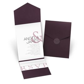 Modern Marvel - Eggplant - Pocket Invitation