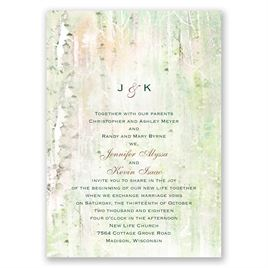 Watercolor Birch Trees - Invitation
