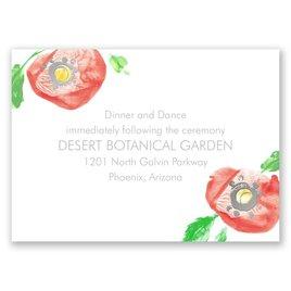Pretty Poppies - Silver - Foil Reception Card