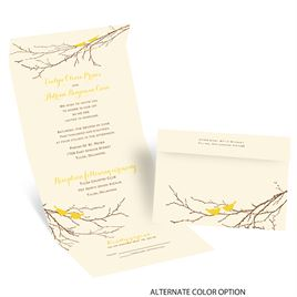 Boughs and Birds - Ecru - Seal and Send Invitation