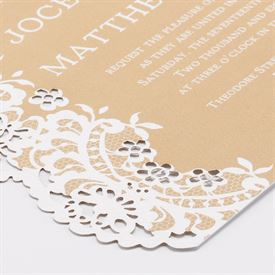 Lace Embrace - Ecru - Laser Cut Invitation