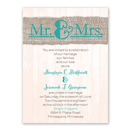 burlap wedding invitations burlap band mr mrs petite invitation - Burlap Wedding Invitations