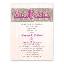 Burlap Band - Mrs. & Mrs. - Petite Invitation