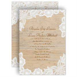 84f5fbe797a09 Rustic Wedding Invitations: Wood and Lace Invitation
