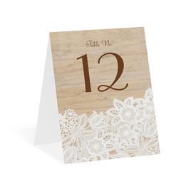 Wood and Lace Table Number Card